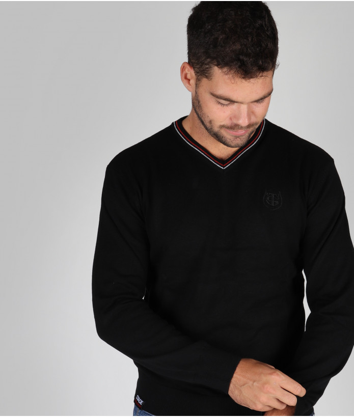 Pull col v Homme Pascal Stade Toulousain Noir 5